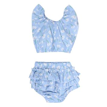 Infant Flower Print Clothes Set Baby Kids Floral Sleeveless Tops + Ruffle Brief Shorts Outfits Baby Girls Costume