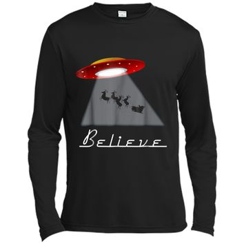 Funny Christmas Believe  Alien UFO Santa Abduction Gift Long Sleeve Moisture Absorbing Shirt