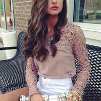 Light Brown Lace Embroidered Long Sleeve Blouse