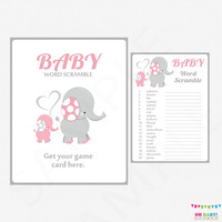 Elephant Baby Shower Games, Pink and Gray Baby Word Scramble Game, Girl Baby Shower, Pink Safari Baby Shower Game & Sign Printable EL0005-lp