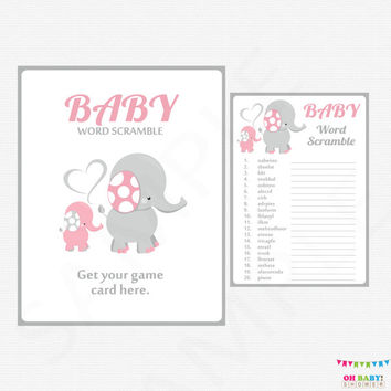 Elephant Baby Shower Games, Pink And Gray Baby Word Scramble Game, Girl  Baby Shower