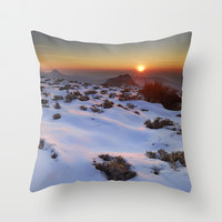 Sunset at the mountains. Sierra Nevada Throw Pillow by Guido Montañés