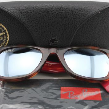 Cheap New Ray Ban RB2140 1178/30 54mm Wayfarer Havana/Red Temples Green Mirror Silver outlet