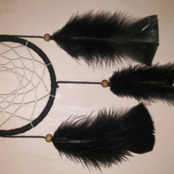 Small black feathered dreamcatcher