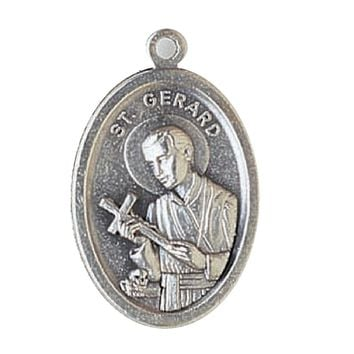 "Qty 5 Men or Womens Catholic & Religious. 1"" H Silver Tone St Gerard - St. Gerard with Our Lady of Perpetual Hope on Back Medal. Our Silver Oxidized Saints Medals Come on a Convenient Jump Ring, Ready for a Stainless Steel Chain. Made in Italy. Catholic Sa"