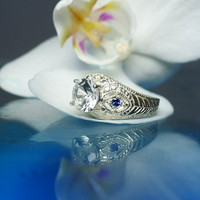 Herkimer Diamond Ring With Sapphire Sterling Antique Style Filigree Design
