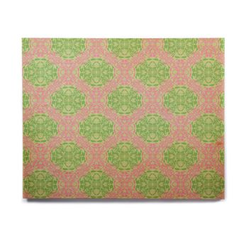 "Mydeas ""Diamond Illusion Damask Watermelon"" Pink Green Birchwood Wall Art"