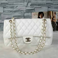 chanel Women Shopping Leather Handbag Tote Satchel Shoulder Bag White