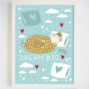 Dream Big Nursery Wall Art - Dream Big Kids Wall Art - Sheep Picture - Baby Nursery Decor - Small Child Wall Art - Gender Neutral Baby Gift