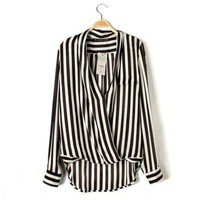 FASHION HOT IRREGULAR STRIPE SHIRT