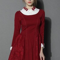 Cherished Lace Paneled Dress in Wine Red