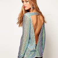 ASOS Top With Iridescent  Sequins And Cutout V Back at asos.com