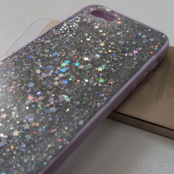 Space Dust Silver holographic stars and silver glitter  iPhone 5c glitter phone case Glitter