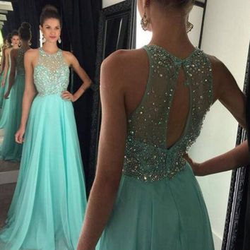 Mint Green Illusion Beaded Lace Bodice Chiffon Floor Length Prom Dress Vestido De Festa Long Graduation Dress