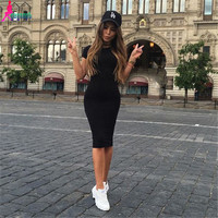 Gagaopt 2016 Cotton Korean Summer Dress Sexy Black Bodycon Office Dress Women Long Maxi Dress Vestidos Robe D0746