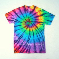 Tie Dye Shirt- Medium Rainbow Stained Glass Spiral