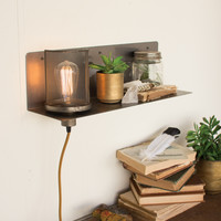 Metal Shelf and Lamp with Wire Mesh Shade