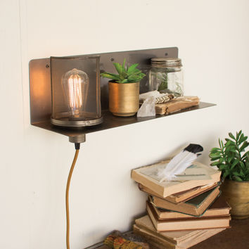 Metal Shelf & Lamp with Wire Mesh Shade
