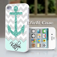 Personalized Mint Glitter Anchor  iPhone 5 or iPhone 4 by TaBCase
