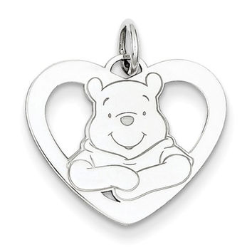 Sterling Silver Disney Winnie The Pooh Heart Charm Pendant