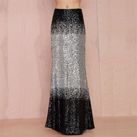 Silver And Black Gradient Sequins Fishtail Maxi Skirt