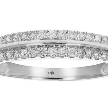 AGS Certified 0.30 Carats 1/3 cttw  I1-I2 Diamond Wedding Band Prong Set 14K White Gold (G-H)