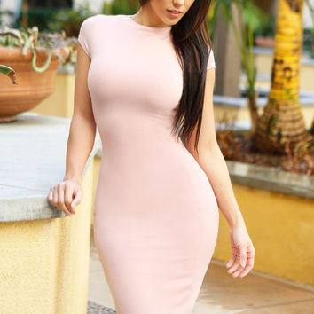 Kaily Blush Short Sleeve Dress