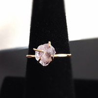 Raw Cut Quartz Solitaire Gold Ring Engagement by camilaestrella