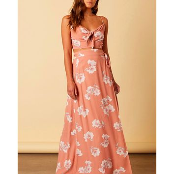 cotton candy la - aphrodite floral two piece set - peach