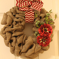 Christmas burlap wreath-holiday burlap wreath with flowers and ribbon- holiday outdoor decor, christmas flower wreath