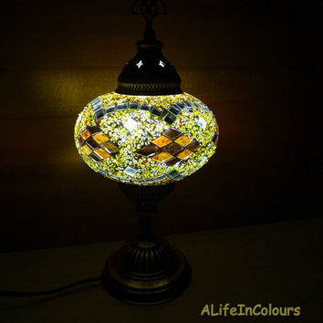 Turkish handmade decorative  unique colourful glass mosaic bedside lamp, table lamp, bedroom night lamp, kid's room lamp.