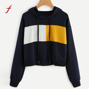 FEITONG Women Hoodie Sweatshirt Long Sleeve New Autumn Winter Cotton Short High Quality Hoody Jumper Crop Top Pullover Tops