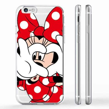 New Fashion Cute Mickey Mouse Hard Cover Case For iPhone SE 5 5S 6 6S 6plus 6S 7 7Plus Mickey and Minnie Emoji Transparent Cases