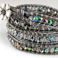SALE - Chan Luu Style Wrap Bracelet - Crystal Vitral Czech Glass - Silver Gray Leather