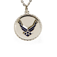 United States Air Force Diamond Cut Pendant Necklace