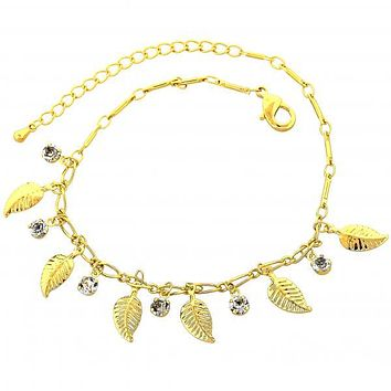 Gold Layered 03.63.1292.08 Charm Bracelet, Leaf Design, with White Cubic Zirconia, Polished Finish, Gold Tone