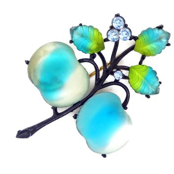 Austria Double Cherries Aqua Blue and Frosted White Glass Fruit Brooch
