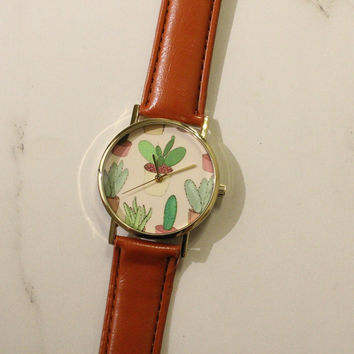 Brown Cactus Leather Watch