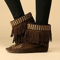 Free People Studded Fringe Moccasin