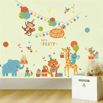 Cartoon Animals' Party Theme Wall Stickers for Kids Room Decoration Nursery Safari Mural Art Diy Home Decals Monkey Giraffe