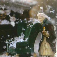 Scrooge and Marley Snow Globe Photo on Blank Photo Note Card Perfect Christmas card