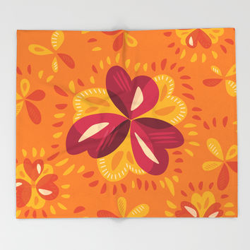 Orange And Pink Clover Abstract Floral Throw Blanket by borianagiormova