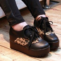 Women's Retro Tassel Leopard Shoes Platform Sneakers Flats Casual Loafers Preppy