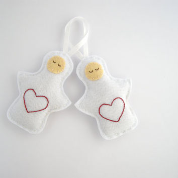 Felt angel ornament - Christmas decorations in white, red embroidered heart - holiday decor, tree decorations -Set of two