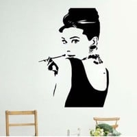 Black Audrey Hepburn Somking Figure Wall Sticker Decal Home Decor for Living Room TV Wall-M