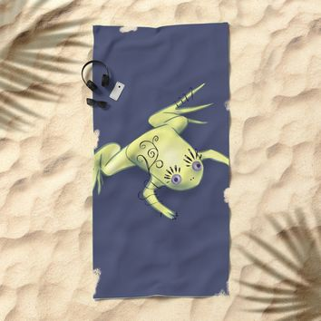 Funny Frog With Fancy Eyelashes Digital Art Beach Towel by borianagiormova
