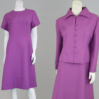 Vintage 60s 70s Peggy French Couture Purple Two Piece Dress Set Dress & Jacket Dress and Coat Jackie O Shift Dress Office Dress Secretary