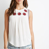 Star-Embroidered Peasant Top
