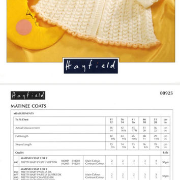 Matinee Coats knitting pattern PDF instant download. 12 - 20 inch. Baby matinee coat