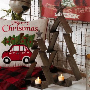 Rustic Metal Christmas Tree Hanging Tealight Holder